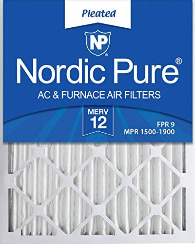Nordic Pure 16x25x2 MERV 12 Pleated AC Furnace Air Filters, 16x25x2, 3 Pack