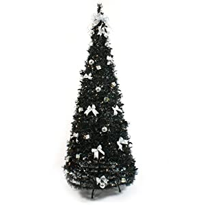 6ft pre lit artificial pop up christmas tree black with - Pre Decorated Pop Up Christmas Trees