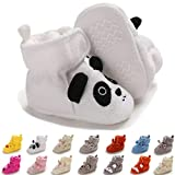 ENERCAKE Baby Newborn Cozy Fleece Booties with Non Skid Bottom Infant Boys Girls Winter Warm Slippers Socks Stay On Crib Shoes(6-12 Months Infant,A-White Panda)