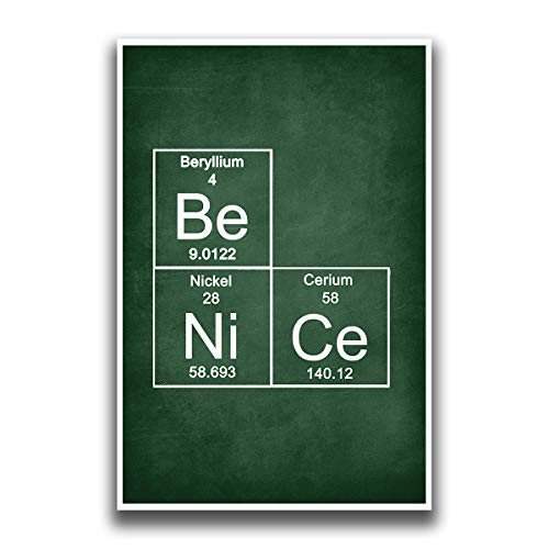 JSC387 Chemical Elements Be, Ni, Ce Classroom Poster | 18-Inches by 12-Inches | Premium 100lb Gloss Poster Paper