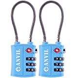 TSA Approved 3 Digit Luggage Cable Locks, Small Combination Padlock Ideal for Travel - 1, 2 & 4 Pack (BLUE 2 PACK)