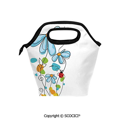 Portable thickening insulation tape Lunch bag Flowers and Oval Dome Shaped Ladybugs Illustration Never Ending Love Story Luck Symbol for student cute girls mummy bag.