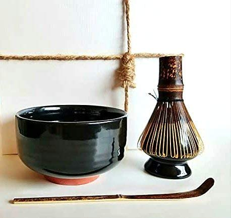 HARU MATCHA - Complete Matcha Tea Ceremony Gift Set (Black) - Matcha Chawan Bowl, Bamboo Scoop (Chashaku), Bamboo Whisk (100 tate) and Whisk Holder