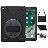 iPad Air 2 Case (2014 Release), TSQ Heavy Duty Carrying Protective Case with 360 Degree Stand, Handle Hand Grip & Shoulder Strap, for Apple Tablet Air 2nd Gen Cover Skin for Kids A1566 A1567 Black