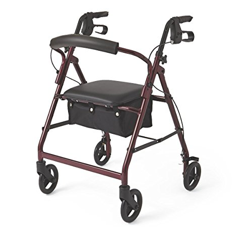 Medline Aluminum Adult Transport Mobility Walker Rollator with 6 Inch Wheels and Seat, Burgundy