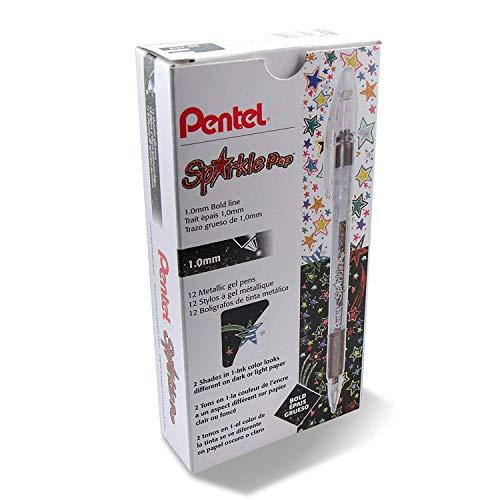 Pentel Sparkle Pop Metallic Gel Pen, (1.0mm) Bold Line, Black/Red Ink - K91-DA