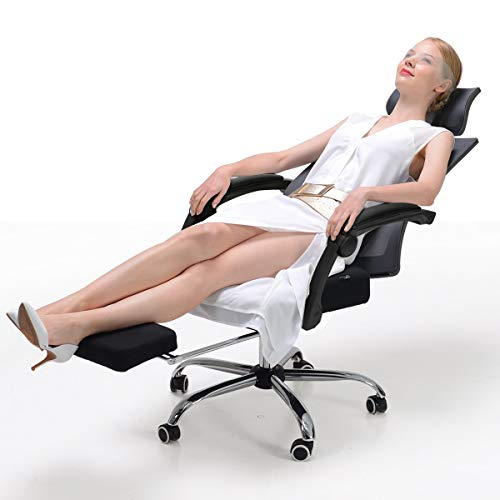 Hbada Ergonomic Office Chair - High-Back Desk Chair Racing Style with Lumbar Support - Height Adjustable Seat,Headrest- Breathable Mesh Back - Soft Foam Seat Cushion with Footrest