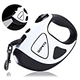 Retractable Dog Leash with Bright LED Flashlight, 16 ft Dog Safety Walking Leashes for Small Medium Large Dogs up to 110 lbs,Tangle Free, Anti-Slip Comfort Grip (Small- 10 ft up to 44 lbs, White)