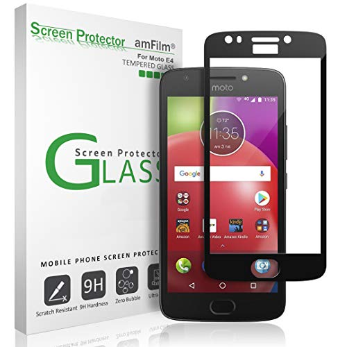 amFilm Glass Screen Protector for Moto E4, 4th Generation, 2017, Tempered Glass, Dot Matrix