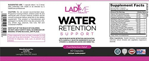 Water Retention Pills for Women Bloating Relief with Vitamin B6, Dandelion & Green Tea Natural Diuretic for Water Draining, Bloating & Swelling Detox Capsules - 60 Caps - by LadyMe 7