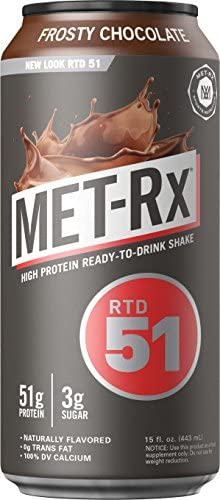 MET-Rx Ready to Drink Protein Shake, Keto Diet Friendly, Snack, Gluten Free, 51g of Protein, With Vitamin A, Vitamin D, and Zinc to Support Immune Health, Frosty Chocolate, 15oz, Pack of 12 1