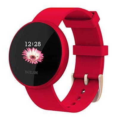 Smartwatch Donna, Uomini Smartwatch per iPhone Andriod con frequenza cardiaca monitor sonno contapassi Remote Call SMS promemoria sedentario promemoria (Rosso)