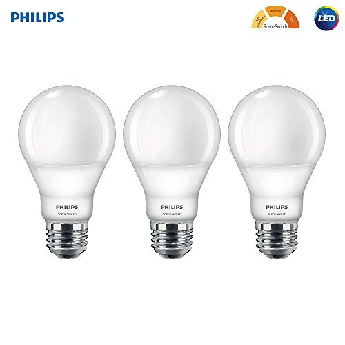 Philips LED A19 SceneSwitch Soft White 3-Setting Light Bulb with Warm Glow Effect: Bright/Medium/Low (60-Watt Equivalent), E26 Base, 3-Pack