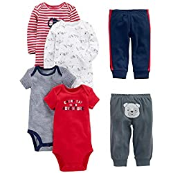 Simple Joys by Carter's Baby Boys 6-Piece Little Character Set, Red/Navy Bear, Newborn