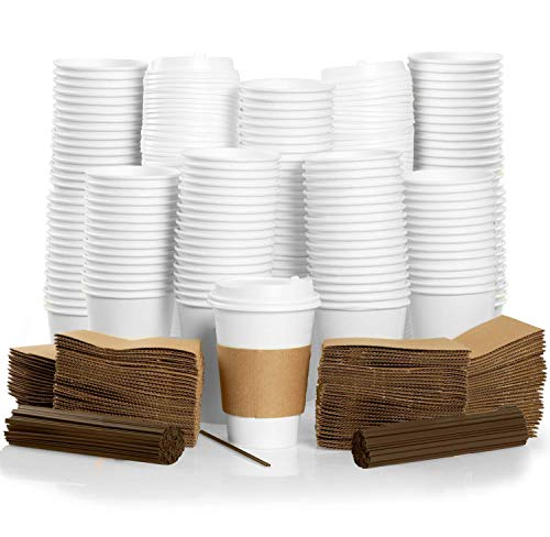 100 Pack - 16 oz To Go Coffee Cups with Sleeves, Lids & Stirrers - Disposable & Recyclable White Paper Travel Coffee Cups
