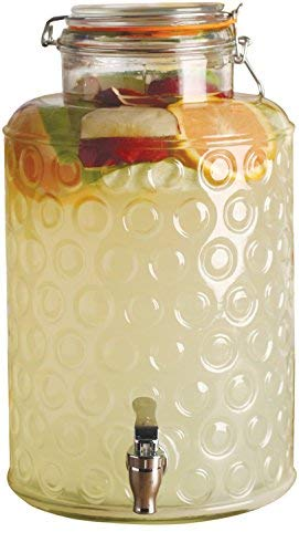 Circleware 69161 Circles Glass Beverage Dispenser with Hermetic Locking Lid Glassware for Water, Iced Tea Kombucha, Punch and all type of Cold Drinks 2.4 Gallons