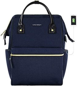KROSER Laptop Backpack Stylish School Computer Backpack 15.6 Inch Doctor Bag with USB Port Water Repellent College Casual Daypack Travel Business Work Bag for Men/Women-Dark Blue