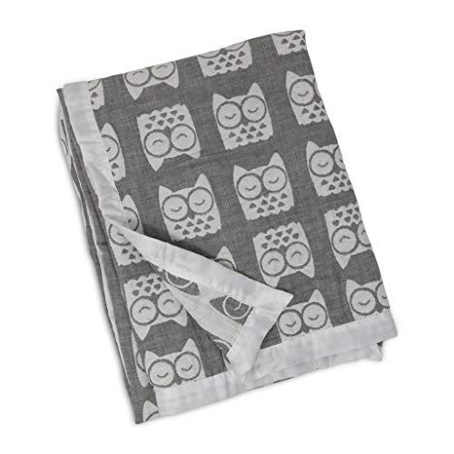 Living Textiles Muslin Textured Grey Owl Baby Blanket,