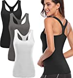 TELALEO Workout Tank Tops for Women, Womens Racerback Workout Clothes for Women Yoga Basic Running Gym Black/Gray/White M