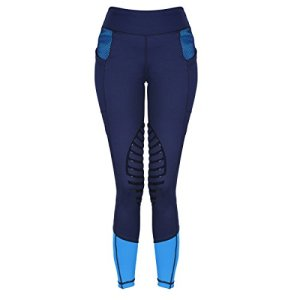 HR Farm Women's Silicone Tights Horse Riding Gel Grip Pull On Leggings with Pocket UPF50+