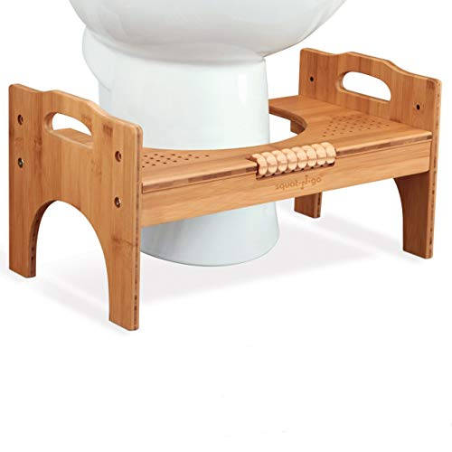 """Squat N Go 7"""" or 9"""" Adjustable Bamboo Luxury Squatting Toilet Stool with Built-In Foot Massager to Boost Blood Circulation"""