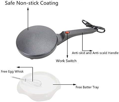 "Simosho Electric Crepe Maker Mini Household Pancake Machine, 8"" Non-stick Coating Pancakes Crepe Pan for Spring Egg Roll Maker Kitchen Appliances (Black)"