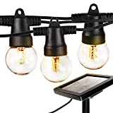 Brightech Ambience Pro - Waterproof Solar LED Outdoor String Lights – 1W Retro Edison Filament Bulbs - 27 Ft Globe Lights Create Bistro Ambience In Your Yard, Pergola - Soft White