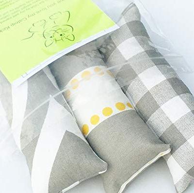 Cat Toy Catnip Kickers 3 PACK Grey Yellow White heavy cotton fabric Organic catnip