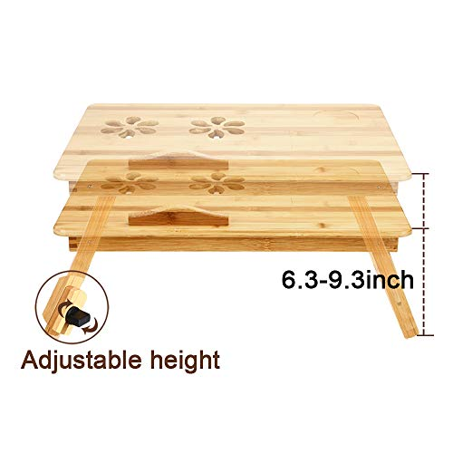 415GZriYK7L - Zipom 100% Portable Bamboo Laptop Stand Foldable Desk Notebook Table Laptop Bed Tray Bed Table, Flower Style design, play games on bed Table with Drawer