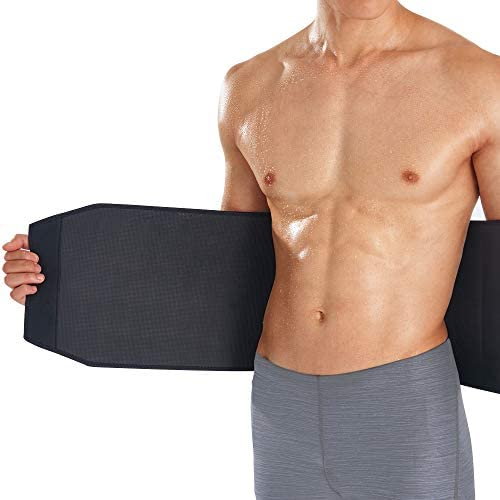 Bracoo Premium Waist Trimmer Wrap (Broad Coverage), Sweat Sauna Slim Belt for Men and Women - Abdominal Trainer, Increased Core Stability, Metabolic Rate, SE22 (L/XL) Black 2