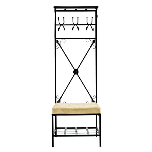 Southern Enterprises Entryway Bench and Storage Rack - 72.5' Tall w/Black Finish - 12 Hook Design