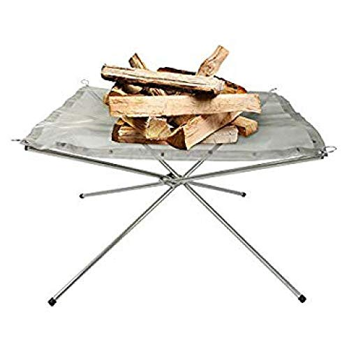 Rootless Large Portable Outdoor Fire Pit : Collapsing Steel Mesh Fireplace - Perfect for Camping, Backyard and Garden - Carrying Bag Included