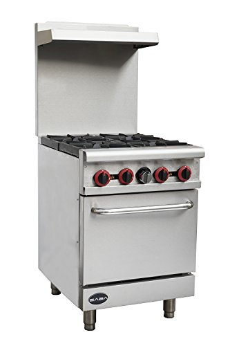 Heavy Duty Commercial 24' Gas 4 Burner Range with Oven