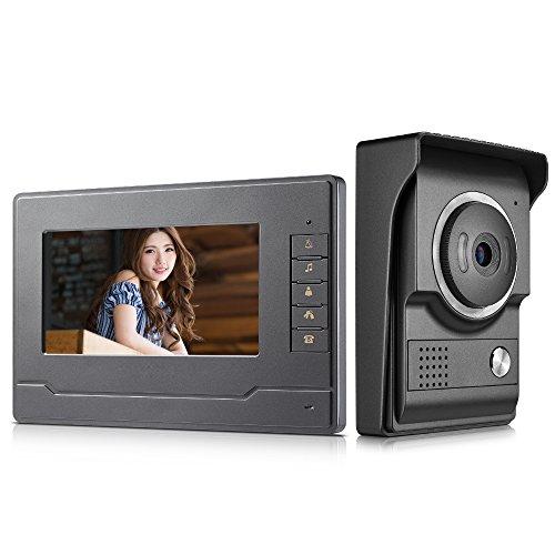 AMOCAM Video Intercom System, 7' Monitor Video doorphone Doorbell System, Wired Video Door Phone HD Camera Kits Support Unlock, Monitoring, Dual-Way Intercom for Villa House Office Apartment