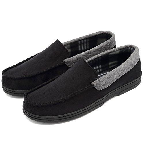 CIOR Fantiny Men's Casual Memory Foam Pile Lined Slip On Moccasin Flats Slippers Micro Suede Indoor Outdoor Rubber Sole-U1MTM011-Black-43