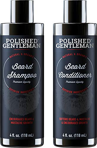 Beard Growth Shampoo and Conditioner Set - Best Organic Face Soap with Biotin & Tea Tree - Best Beard Wash with Beard Oil - Facial Hair Growth Kit for Men - Rapid Hair and Beard Growth - Made in USA