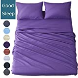 Shilucheng Bed Sheets Set Microfiber 1800 Thread Count Percale Super Soft and Comforterble  16 Inch Deep Pockets   Wrinkle Fade and Hypoallergenic - 3 Piece (Twin, Purple)