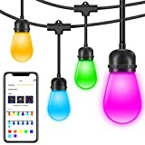 Waterproof Led Outdoor String Lights, Govee DreamColor Cafe Lights with APP (DIY, RGBW, Sync to Music), 36Ft 12 Bulbs Dimmable Color Changing Hanging Light for Patio Commercial Grade Party Holiday