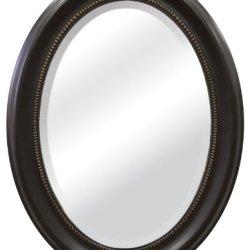 MCS Beaded Oval Wall Mirror, 22.5 x 29.5 Inch, Bronze