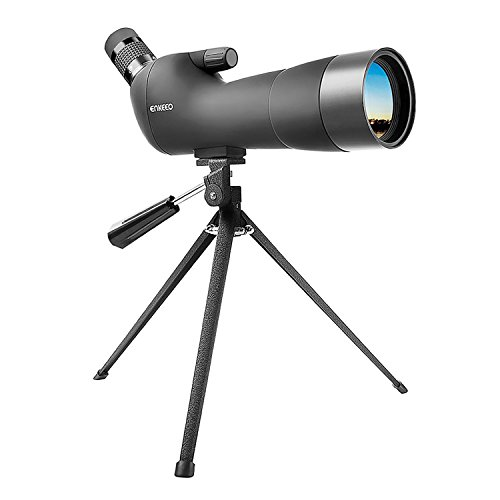 ENKEEO Waterproof Spotting Scope 20-60X60AE with Tripod, 45-Degree Angled Eyepiece, Optics Zoom 41-21m (134-69ft) / 1000m - Black