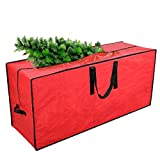 Primode Artificial Xmas Tree Storage Bag with Handles | 45' x 15' x 20' Holiday Tree Storage Case | Protective Zippered Xmas Tree Bag Fits Up to 7 Foot Tall Disassembled Trees (Red)