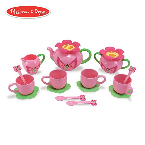 Melissa & Doug Bella Butterfly Pretend Play Tea Set (Pretend Play, Food-Safe Material, BPA-Free, Durable Construction, 15.5' H x 12' W x 4.5' L)