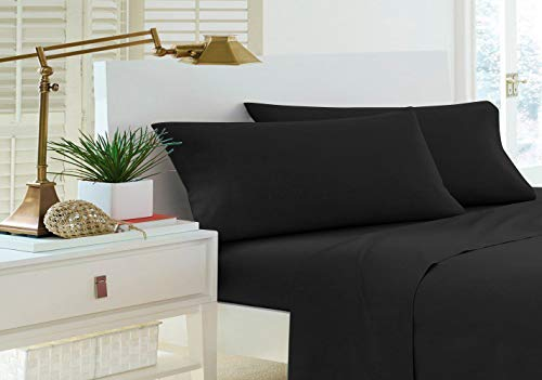 Home Sweet Home Dreams Inc Jessica Collection 200 Thread Count Percale Cotton Rich Twin Extra Long Sheet Set (Twin XL, Black)