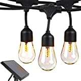 Brightech Ambience Pro -Waterproof Solar LED Outdoor String Lights - Hanging 1.5W Vintage Edison Bulbs 27 Ft Commercial Grade Patio Lights Create Bistro Ambience In Your Backyard, On Your Porch