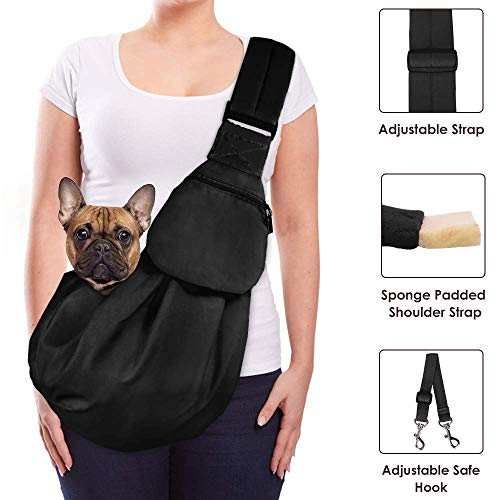 Lukovee Pet Sling, Hand Free Dog Sling Carrier Adjustable Padded Strap Tote Bag Breathable Cotton Shoulder Bag Front Pocket Safety Belt Carrying Small Dog Cat Puppy Machine Washable 1
