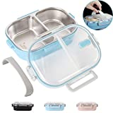 Buringer Lunch Bento Box Insulated Stainless Steel Square Food Storage Container Leakproof with 2 Sealed Compartment for Woman Man Work (Blue with Removable Silicone Handle)