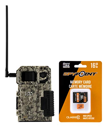 SPYPOINT Link Micro with 16GB MicroSD (Smallest on The Market!) Wireless/Cell Trail Camera, 4 Power LEDs, Fast 4G Photo Transmission w/Preactivated SIM, Fully Configurable via App (Link-Micro-V)