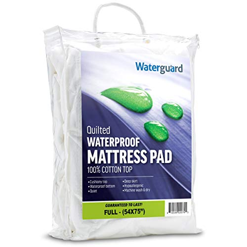 Waterguard Waterproof Mattress Pad Protector Cotton Cover, Microfiber Bottom - Quilted and Fitted (Full Size 54x75) Hypoallergenic and Breathable