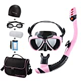 FinaTider Snorkel Gear - Impact Resistant Tempered Glass Diving Mask Panoramic Wide View Watertight and Anti-Fog Lens Mask, Dry Top Collapsible Snorkel Professional Snorkeling Set Adult Youth