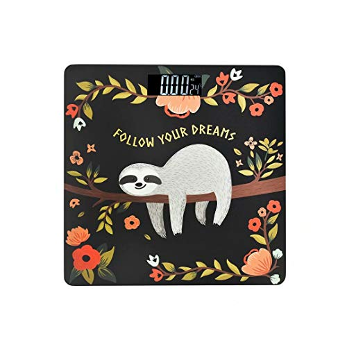 JOYPRINT High Precision Digital Bathroom Scale, Quotes Floral Cute Animal Sloth Body Weight Scales with Body Tape Measure, 400 Pounds, Tempered Glass